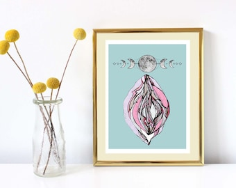 High Quality limited moon vulva print - on handmade cotton paper.