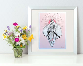 High Quality limited holy vulva print - on handmade cotton paper.
