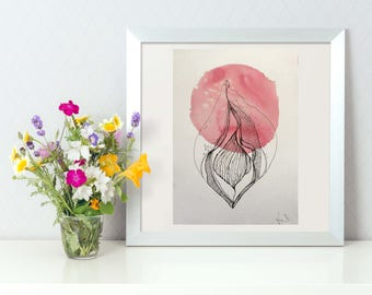 High Quality limited Vulva Print - on handmade cotton paper.