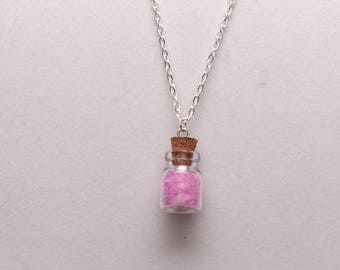 Pink Quartz Charm Bottle, Gem Necklace, Meditation, Protection, heart Chakra, Crystal,