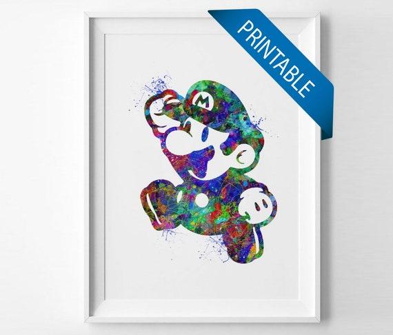 Super Mario Bros printable instant download nintendo art nursery art for  kids posters watercolor digital download (023)