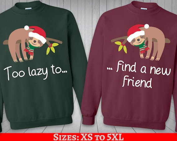 Ugly Christmas Sweater couple Best Friends Sloth BFF sweatshirt couple  besties sweater funny Xmas matching gift