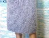 Mohair skirt gray thick mohair fluffy mohair straight skirt handmade skirt mohair Angora skirt Made to order