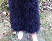 Long skirt Black skirt Ostrich feather yarn blend mohair decofur long pile fluffy skirt Made to order Handmade skirt