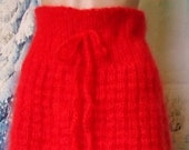 Red mohair skirt Knitted straight pencil skirt fluffy thick mohair Made to order Women 39 s knitted skirt of thick mohair handmade