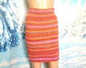 Knitted skirt Pencil skirt Wool melange red skirt Mini skirt Comfortable skirt The straight skirt Handmade skirt The skirt is made of wool