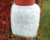 Skirt with feathers Knitted skirt Mini skirt Fluffy skirt a long NAP Soft skirt Rabbit The skirt is knitted from soft yarn Handmade
