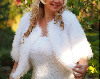 a fluffy vest and a fluffy bolero with a large collar Handcrafted products made from royal mohair a set of royal mohair knitted