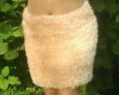 Knitted skirt Pencil skirt Beige knit skirt Mini skirt Fluffy skirt Women 39 s knit skirt DECOFUR yarn mohair skirt Handmade
