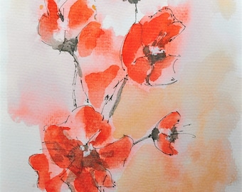 poppies print watercolor on fine art paper 280 gr A4