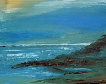 Original acrylic painting on canvas, seascape, landscape
