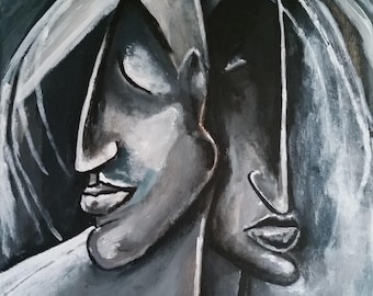 Painting 'Twins'in acrylic on canvas