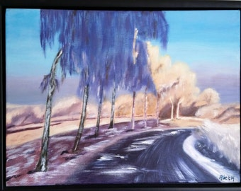 Painting in acrylic on canvas 'Winter in the Netherlands' 34 x 44 cm