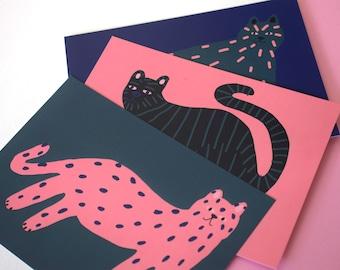 Set de 3 chats cartes postales