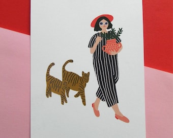Girl walking with cats postcard