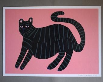 Black cat printed artwork A4