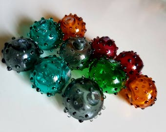 10 pc set hollow glass beads,