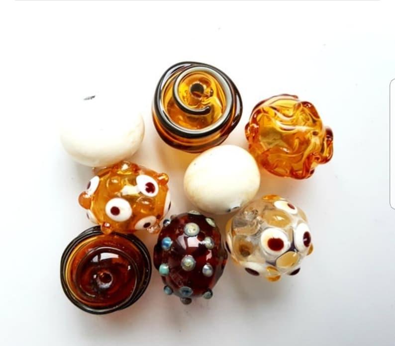 mix lampwork beads 8 pc hollow glass beads blown glass beads