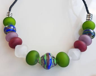 Murano glass necklace, hollow glass beads necklace, Lampwork necklace,