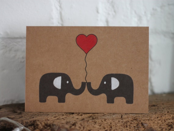 greeting card A6 All you need is love wedding card elephants in love valentine/'s card love hearts