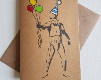 Handmade Stormtrooper Birthday Card - Unique Star Wars Card - Party Hat - Celebration Balloons - Funny