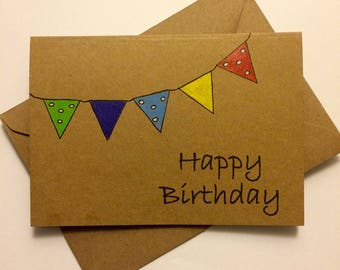 Handmade Birthday Bunting Card - Happy Birthday - Colourful Bunting - Unique Design