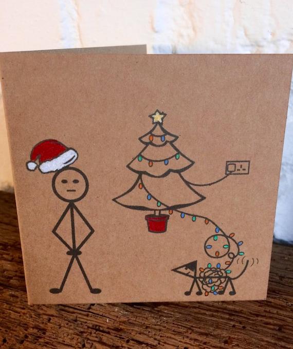 Unique Christmas Cards.Set Of 4 Unique Christmas Cards Funny Christmas Cards Handmade Silly Stickman Funny Dog Cards Set