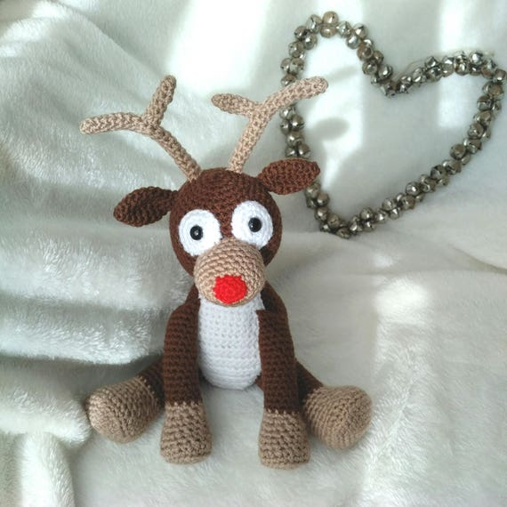 Hard Copy Reindeer Crochet Pattern Rudolph the Red Nosed   Etsy