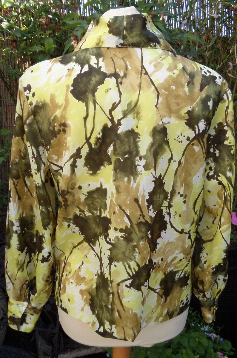 1950/'s Ladies Vintage ShirtBlouseTopJacket by TetronLong SleeveYellowOliveWhite UK Size 14