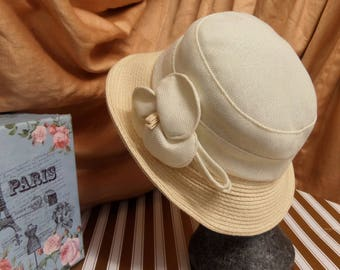 Vintage 1980's Ivory Cream Ladies Summer Spring Straw Hat by Hawkins