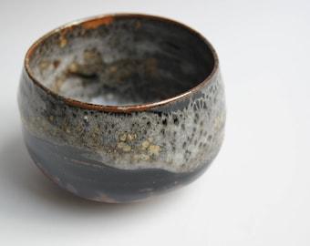 "Bowl ""chawan"" shino over tenmoku, tea, ceramic glaze, pottery, stoneware"