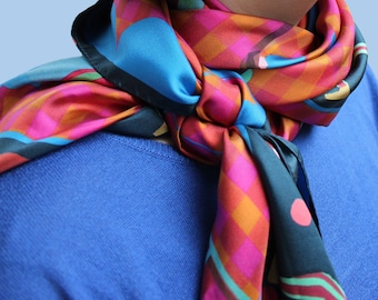 Square scarf - wire - 120cm scarf plum Lion