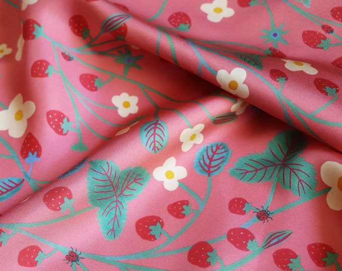 Featured listing image: Silk twill square -60 cm - Strawberry Candy -
