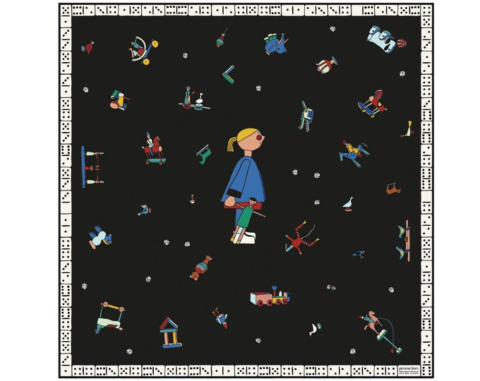 Featured listing image: Silk twill square -90cm -Winter toys-