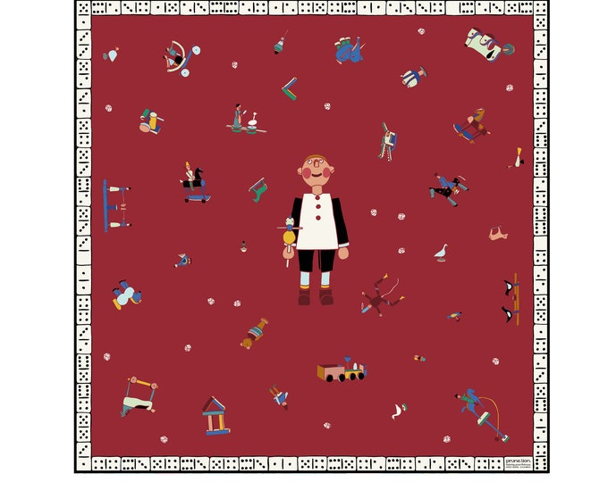 Featured listing image: Collection Jeux_ Grand square in silk twill 90cm - Strawberry Red Toys - Prune Lion Scarf