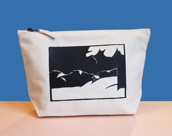 Screen-printed cotton pouch