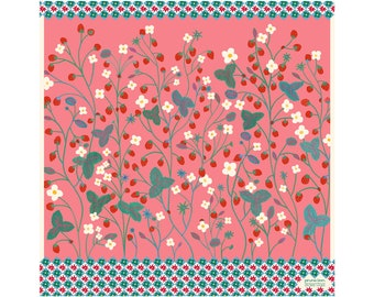 Silk twill square -60 cm - Strawberry Candy -