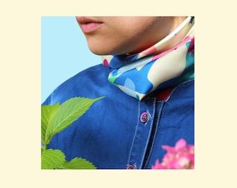 Square Gavroche in silk twill -45cm -Under the sun exactly-