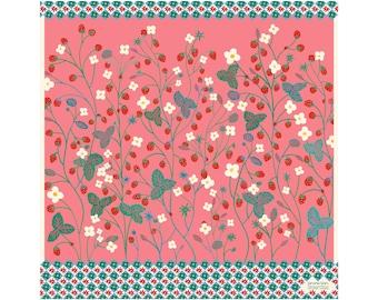 Silk twill square -60 cm - Strawberry Candy -