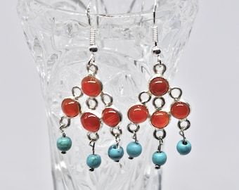 Unique Carnelian and Turquoise Chandelier Earrings