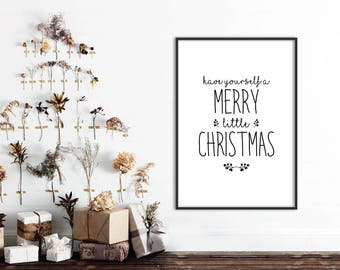 christmas quotes print have yourself a merry little christmas christmas wall decor christmas wall art christmas typography - Christmas Decoration Quotes