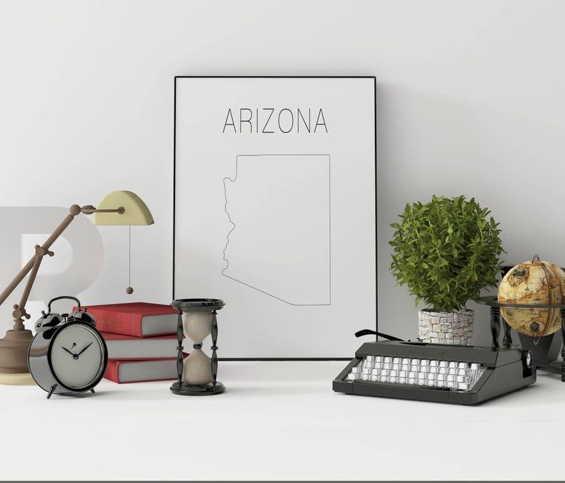 SALE! Arizona state Arizona map Arizona printable Arizona print Arizona  wall art USA art Map decor Geometric art Minimalist art print