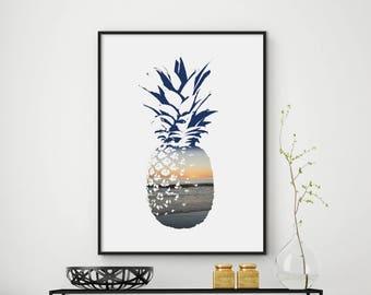 Sale!!! Pineapple Print, Pineapple Poster, Pineapple Art Print, Pineapple Wall Decor, Printable Wall Art, 11x14 Art, 8x10 Print