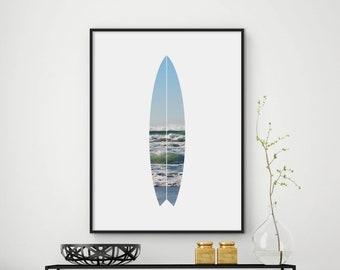 Surfboard Print, Surfboard Art, Ocean Prints, Ocean Art, Ocean Waves Print , Ocean Wall Art, Surf Art Prints, DIGITAL FILES