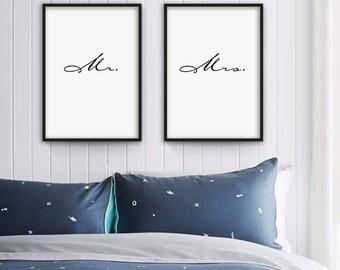 Mr and Mrs Print, Bedroom Decor, Wall Decor, Minimal Print, Wall Decor For Couple, Bedroom Art, Her Poster, set of two print