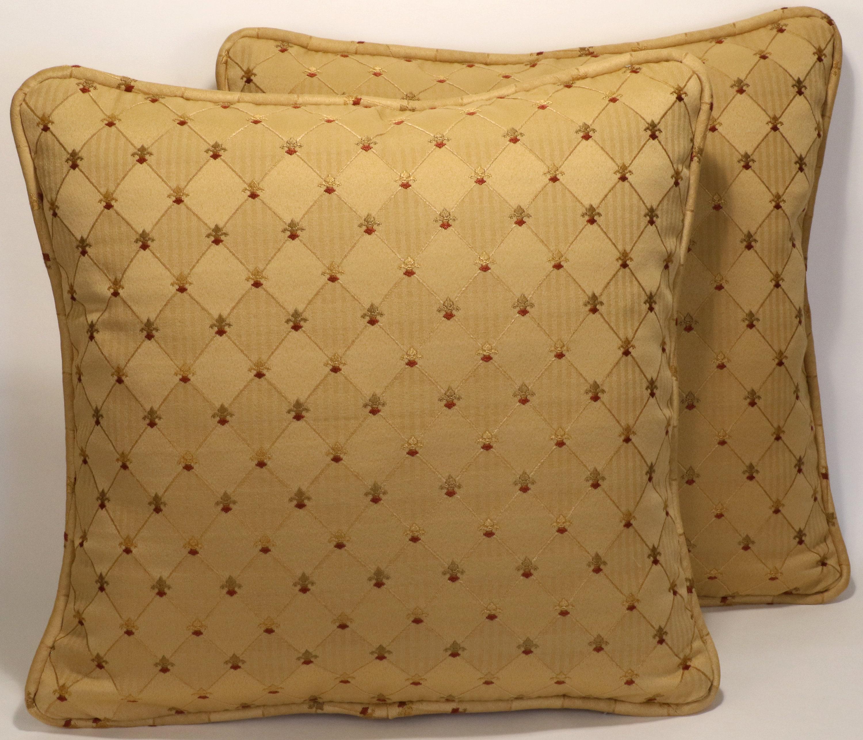 Set Of 2 Gold Throw Pillows 2 18 Laberton Gold Diamond Rust Fleur De Lis Decorative Throw Pillows Mid Century Modern Contemporary Decor