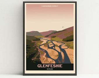 Glenfeshie print, Cairngorms print, Scotland print