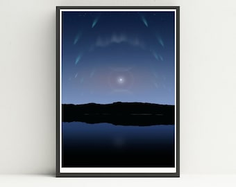 Night sky phenomena print, Astrology print, Celestial print.