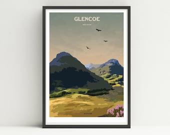 Glencoe print, Scotland print, Cairngorms, unframed poster.