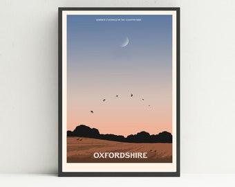 Oxfordshire print, Oxford print, Landscape print